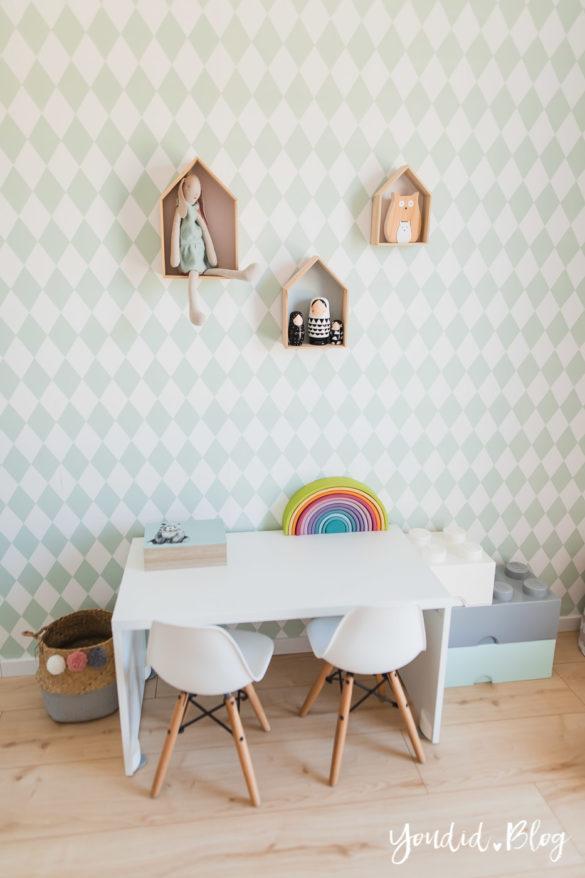 Skandinavisches Kinderzimmer und unsere Erfahrungen mit dem Purline Bioboden von Wineo Ferm Living Tapete | https://youdid.blog