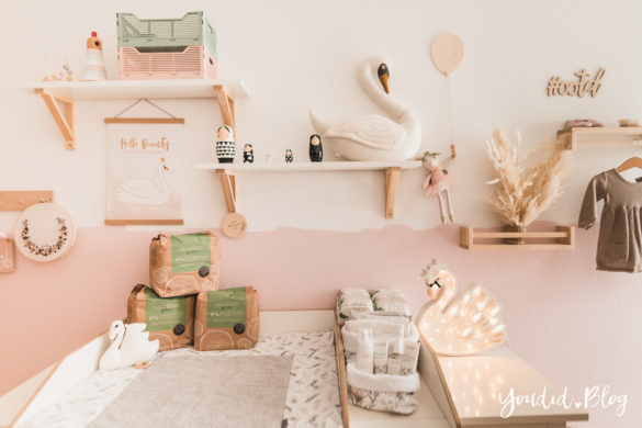 10 Mama Hacks super praktische Lifehacks die neuen plastikneutralisierten Windeln von Lillydoo green Schwanenzimmer Kinderzimmer | https://youdid.blog