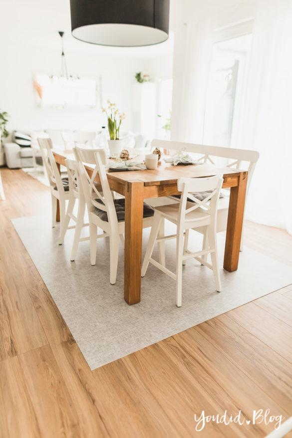 Fliesen Vinyl oder Holzfussboden in der Küche - Unsere Erfahrungen mit dem Purline Bioboden von Wineo Vinyl selbst verlegen Esszimmer | https://youdid.blog