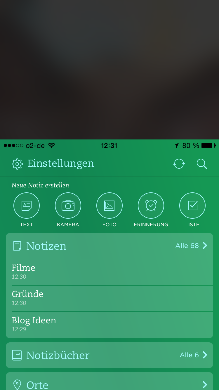 Evernote mit Reachability