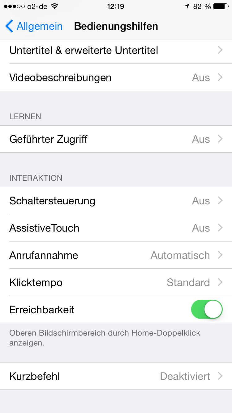 Screenshot Reachability Einstellungen
